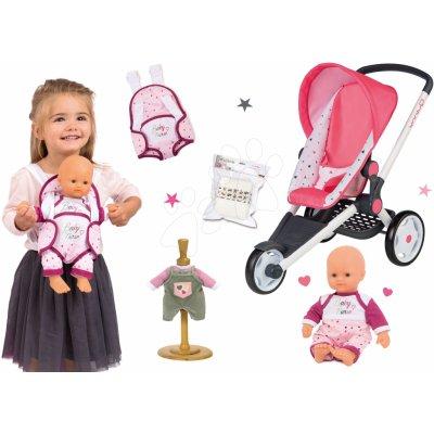Smoby Set sportovní Trio Pastel Maxi Cosi&Quinny Jogger polohovatelný se a panenka Baby Nurse 32 cm s nosičem a pamperskami s šatičkami