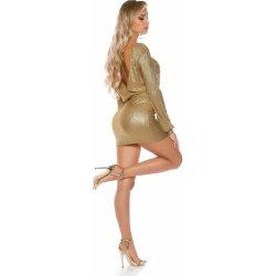 47b6e75e7982 Dámské šaty KouCla dámské párty šaty s výstřihem na zádech zlatá