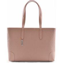 9748cd176f Bright elegantní kabelka kožená vzorovaná na dokumenty růžová