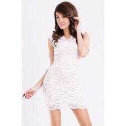 Emamoda dámské párty společenské krátké krajkové šaty bílo krémové 8422eb58cc3