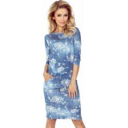 Numoco dámské sportovní šaty netopýří střih na zavazování s kapsami džínový  motiv modrá 585c978aa0