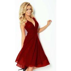 8d28b1028fe Numoco luxusní dámské společenské a plesové šifonové šaty Kara 358 bordó