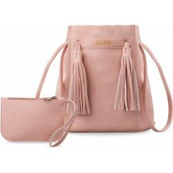 dc7f9a27ef dámská kabelka pytel se střapci + kosmetická taštička sada 2v1 růžová