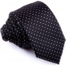 Greg Černá puntíkovaná slim fit kravata 91196