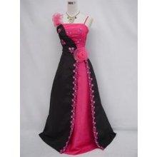Černé růžové dlouhé plesové svatební společenské šaty