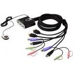 Aten CS-692 DataSwitch 2:1 (kláv.,HDMI,myš,audio) USB, s kabely, DO
