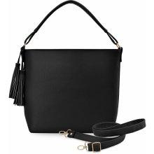8be45cc2a30 velká shopper kabelka dámská se střapcem i a dvěma řemínky černá