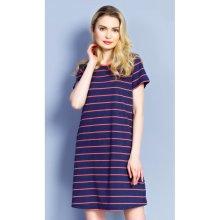 Dámské domácí šaty s krátkým rukávem Proužek azurová tmavě modrá 85d288a38c