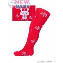 New Baby vánoční bavlněné punčocháčky červené s vločkami a kočičkou