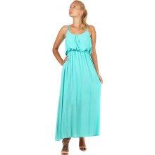 YooY letní jednobarevné maxi šaty 59SY300 modro zelená 37a8c764c0