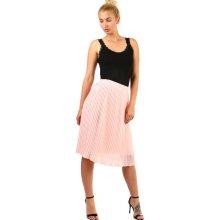 TopMode dámská skládaná plisovaná sukně světle růžová bb3450a43c