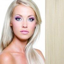 Clip in vlasy - 57 cm sada, 7 - dílná, odstín 61 - platinová blond
