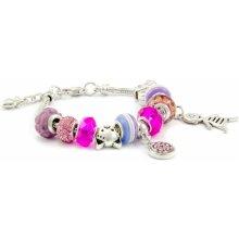 Murano náramek z vinutých perel Dora růžový k narození holčičky 100018120