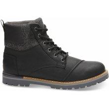 Toms Pánské černé kotníkové Leather Ashland
