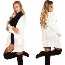 Koucla Dámský pletený cardigan s kapsami bílý 54d952bd62