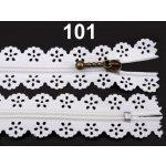 Spirálový zip šíře 3 mm délka 16 cm krajkový 100ks - 8 Kč / ks 101 White