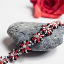 hedy natelNáramek Stříbročervené květiny červená 26