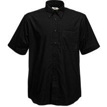 Pánská košile Oxford krátký rukáv, Černá, Fruit of the Loom, 65-112-0