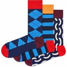 1a8a741cb30 Happy Socks 3 Pack Pattern Socks Red Org Blu