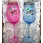 Lužické sklo Skleničky pro novomanžele/svatební skleničky na víno dekor Prsteny dárkové balení satén HG-414 460 ml 2 ks