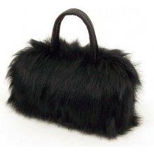 kožešinová chlupatá Mini kabelka černá Cixi F003B