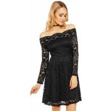 3aa05888b47 Dámské krajkové šaty s dlouhým rukávem a lodičkovým výstřihem černá