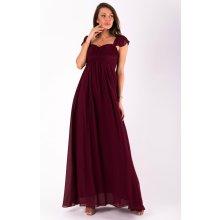 Eva   Lola dámské šaty s rukávkem dlouhé bordó 6a7ed241fee