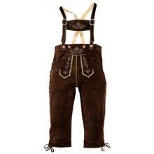 Kožené kalhoty, s tradiční výšivkou, Country Line, tmavohnědá, 54