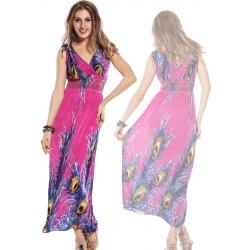 06f1da0a247e LM moda letní šaty dlouhé paví vzor 6436 růžová alternativy - Heureka.cz