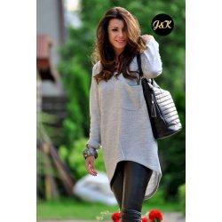 18a78267cba Fashionweek Báječný lehky pleteny luxusní svetr dámský V-neck JK1 SANDY šedý