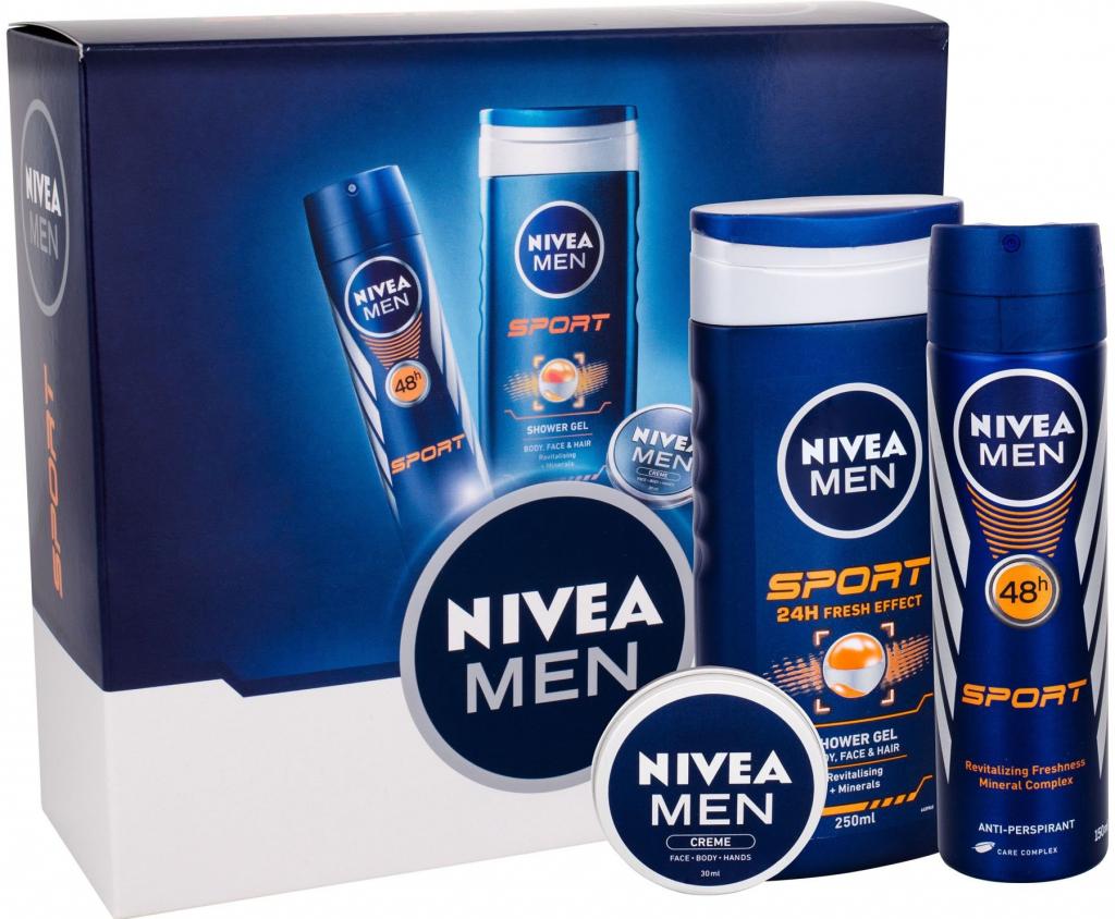 Nivea Man Sport sprchový gel 250 ml + anti-perspirant 150 ml + univerzální  krém Man Creme 30 ml dárková sada alternativy - Heureka.cz 521f975d95b