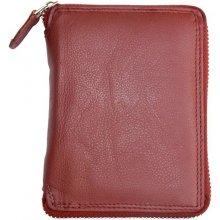 Kožená peněženka tmavě kvalitní celá dokola na zip červená