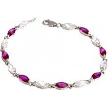 A-diamond.eu jewels Stříbrný náramek s rubíny 203
