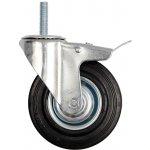 Otočné kolečko s brzdou, gumové se šroubem 60kg 100/26/130mm