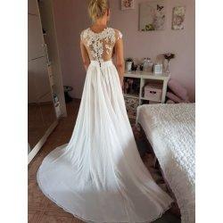 94c01d06cd9 Nádherné plážové svatební šaty s perly na zádech bílé ivory 2853-053 ...