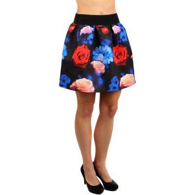 Glara Krátká květovaná balonová sukně modrá 128845