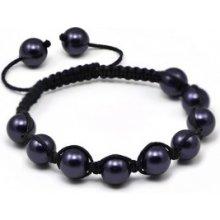 Náramek Shamballa s tmavě purpurové perly Swarovski Elements BMB10.37