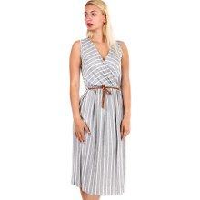 4e5c8ca048c90 Dámské pruhované šaty s páskem zeštíhlující efek 330206 šedá