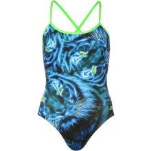 Zoggs Tri Back Swimsuit Ladies Blue Feline