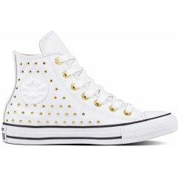 Converse bílé kotníkové tenisky se cvočky Chuck Taylor All Star Hi  White Gold 40f49ee7bf
