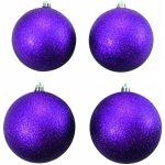 Vánoční dekorační ozdoby 10 cm fialové se třpytkami 4 ks