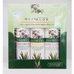 OlivAloe ® Natural cosmetics Kondicioner + Tělové mléko Q3 & Q6 + Šampon na vlasy 3 x 90 ml dárková sada