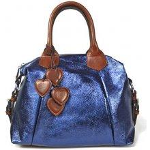 PANDORA Metalická kabelka se srdíčky modrá