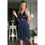 5e70c9388da8 PINK BOOM dámské společenské flitrové šaty středné dlouhé tmavě modrá