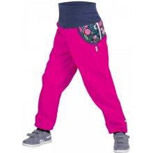 Unuo Dětské softshellové kalhoty s fleecem Květinky fuchsiové 6d6a069bb2