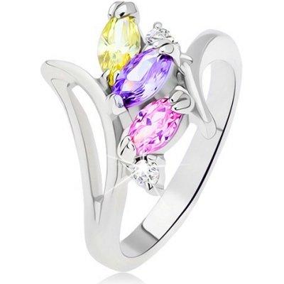 Šperky eshop Prsten stříbrné barevné zrníčkové zirkony uspořádané nad sebou L14.01