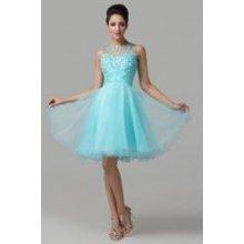 Krátké plesové šaty v modré barvě