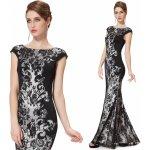 16443fc37e74 Dlouhé luxusní šaty s rukávkem na svatbu ples do opery černá