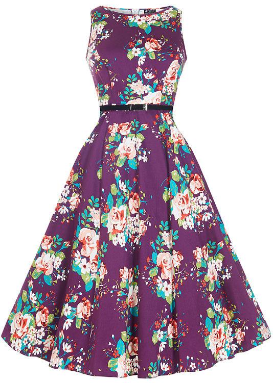 Lady V London šaty s barevnými květy Audrey fialová od 1 323 Kč - Heureka.cz 5b45231e4c