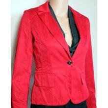 Dámské elegantní sako s knoflíčkem červené